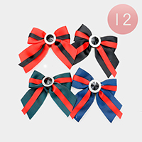 12PCS - Grosgrain Bow Ribbon Pin Brooches
