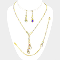 3PCS - Drop Pave Teardrop Stone  Necklace Jewelry Set