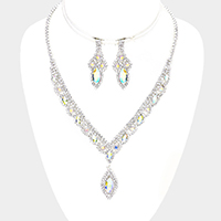 Crystal Rhinestone Pave Oval Stone Dangle Necklace