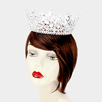 Crystal Glass Teardrop Cluster Pageant Queen Tiara