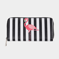 Stripe Flamingo Print Faux Leather Zipper Wallet