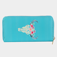 Watercolor Buffalo Print Faux Leather Zipper Wallet