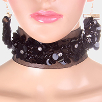 Sequin Cluster Mesh Choker Necklace