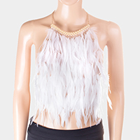 Feather Cluster Backless Top Body Chain Necklace