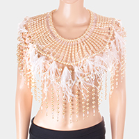 Pearl Feather Fringe Shoulder Top Body Chain Necklace
