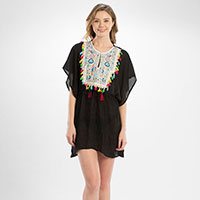 Embroidery Tassel Cord Cover Up Poncho