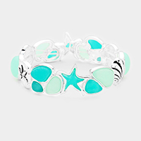 Sea Glass Starfish Shell Sand Dollar Stretch Bracelet
