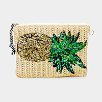 Sequin Pineapple Straw Clutch Bag