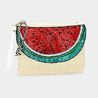 Sequin Watermelon Straw Clutch Bag