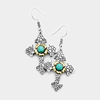 Engraved Floral Turquoise Centered Cross Earrings