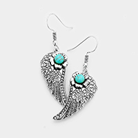 Engraved Floral Turquoise Wing Earrings