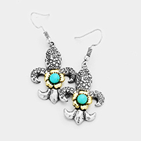 Engraved Floral Turquoise Squash Blossom Earrings
