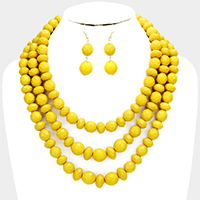 Triple Layered Beaded Bib Necklace