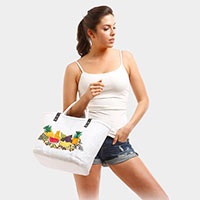 Embroidery Fruits Straw Double Hands Basket Tote Bag