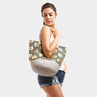 Metallic Elephant Patterned Tote Bag