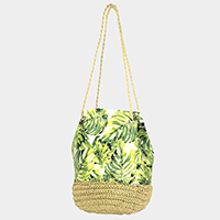 Tropical Leaf Drawstring Bucket Shoulder Bag