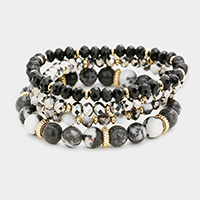 4Layers Semi Precious Faceted Beaded Stretch Bracelet