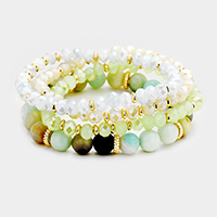 4PCS Semi Precious Faceted Beaded Stretch Bracelet