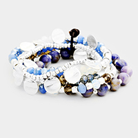 5Layers Multi Beaded Metal Disc Stretch Bracelet