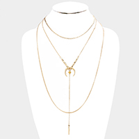 Layered Metal Double Horn Y Necklace
