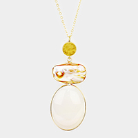 Natural Mother of Pearl Oval Stone Pendant Long Necklace