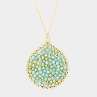 Beaded Disc Pendant Long Necklace