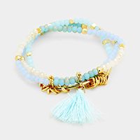 Triple Strand Beaded Tassel Stretch Bracelet
