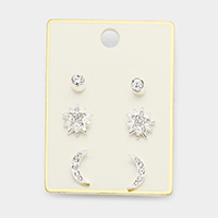 3Pairs Mixed Pave Star Moon Stud Earrings