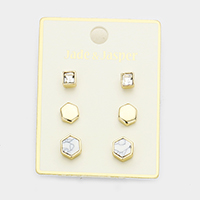 3Pairs Mixed Square Stone Hexagon Stud Earrings