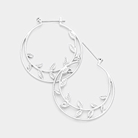 Etched Leaf Metal Pin Catch Earrings