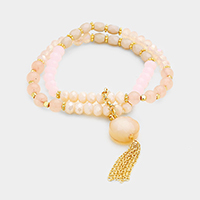 Double Strand Round Bead Chain Tassel Stretch Bracelet