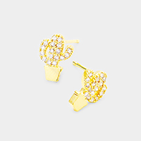Cactus Cubic Zirconia Pave Stud Earrings