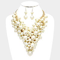Pearl Cluster Vine Bib Necklace