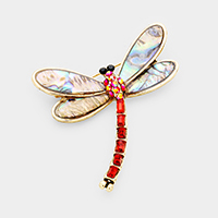 Stone Abalone Dragonfly Pin Brooch