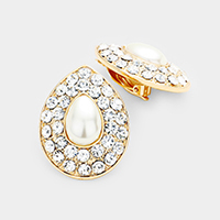 Stone Pave Teardrop Pearl Centered Clip on Earrings