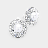 Stone Pave Round Pearl Centered Clip on Earrings