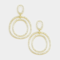 Crystal Rhinestone Pave Round Evening Earrings