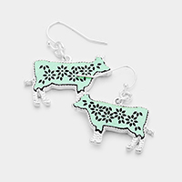Floral Cut Out Leather Cow Dangle Earrings