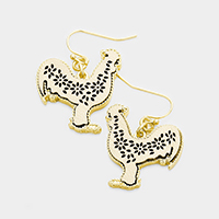 Floral Cut Out Leather Rooster Dangle Earrings