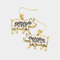 Floral Cut Out Leather Pig Dangle Earrings