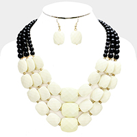Triple Strand Faceted Rectangle Beaded Bib Necklace
