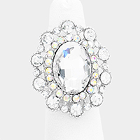 Crystal Oval Stone Centered Flower Stretch Ring