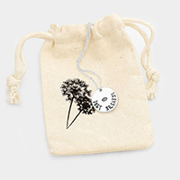 Just Breathe _ Metal Disc Pendant Necklace Gift Bag Set