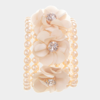 Detachable Flower Pin Brooch Pearl Stretch Bracelet