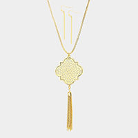 Two Tone Cut Out Petal Drop Chain Tassel Long Necklace