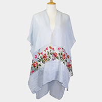 Embroidery Flower Sheer Cover Up Poncho