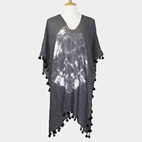 Tie Dye Mini Tassels Cover Up Poncho