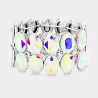 Glass Crystal Oval Stone Cluster Stretch Bracelet