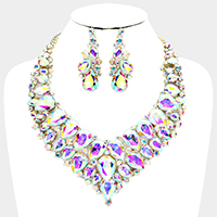 Teardrop Glass Crystal Cluster Evening Necklace