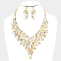 Marquise Glass Crystal Cluster Vine Evening Necklace